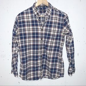 Eddie Bauer Relaxed Fit Casual Button Down Plaid Top Shirt Mens Size Small Blue
